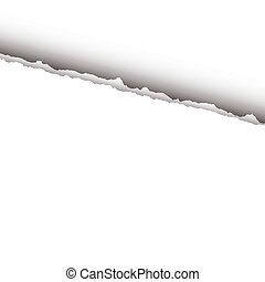white page rip - Plain white paper background with rip and...