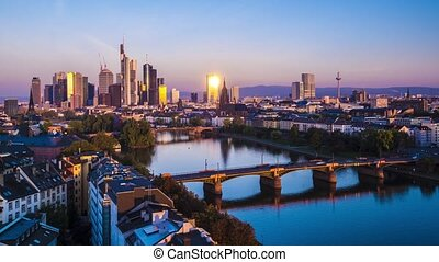Frankfurt am Main - Time Lapse of the Financial District of...