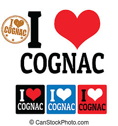 I love Cognac sign and labels