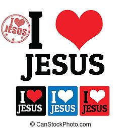 ja, miłość, Jezus, znak, Etykiety