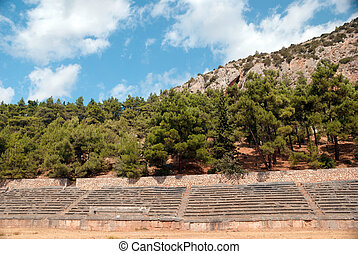 Ancient stadium at Delfi archaeological site in Greece