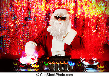 red lights - DJ Santa Claus mixing up some Christmas cheer...