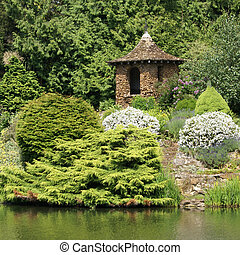 Gazebo - Pagoda-like gazebo on the pond shore