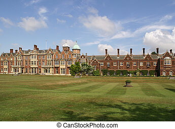Sandringham House - Front view of Sandringham House with a...