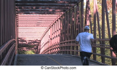 Biker and Jogger on Bridge - A bicyclist and jogger make...