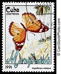 Postage stamp Cuba 1991 Danaid Eggfly, Butterfly - CUBA -...