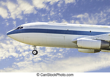 Commercial Airplane - A side view of a commercial airplane...