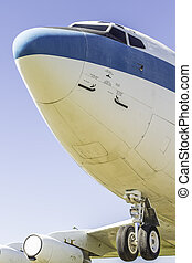 Commercial Airplane - The front view of a commercial...