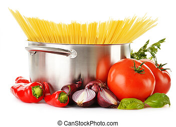 Stainless pot with spaghetti and variety of raw vegetables...