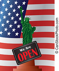 Government Shutdown Open Sign Statue of Liberty Illustration...