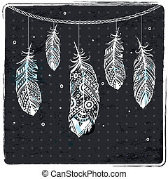 Fashion ethnic feather illustration can be used as greeting...