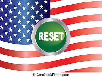 Government Shutdown Reset Button with US Flag Illustration -...