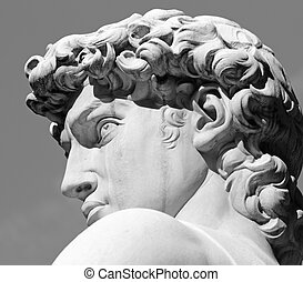 head of David sculpture by  Michelangelo, Florence, Tuscany, Italy, Europe