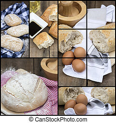 Compilation collage of fresh bread making stages - Collage...