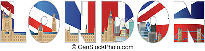 Palace of Westminster and London City Skyline Text Outline -...