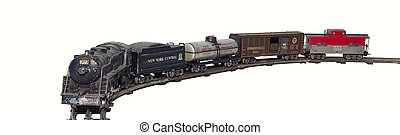 Old Train Set Isolated - Circa 1949 Steam Locomotive train...