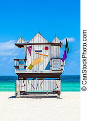 beautiful south Beach in Miami with famous lifeguard towers...