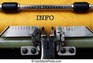 info, texto, Máquina escrever