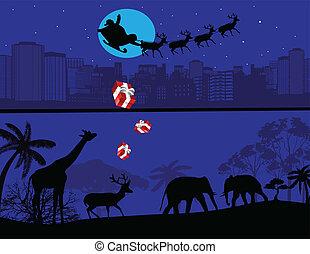Santa Claus and his reindeer sleigh