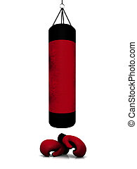 Boxing gear - Two red and black boxing gloves and a punching...