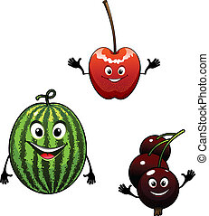 Watermelon, currant and cherry cartoon fruits for mascot or...