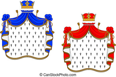 Red and blue royal mantles isolated on white background for...