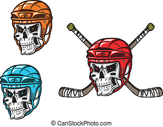 Skull with ice hockey amunition in cartoon mascot style for...