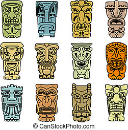 Tribal masks of idols and demons for religious or ethnic...