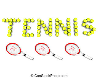 "The word ""TENNIS\"" written with tennis balls and three..."