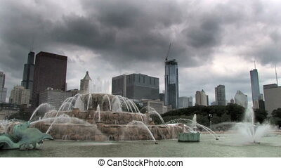 Chicago and Fountain Time Lapse - Time lapse of Chicago's...