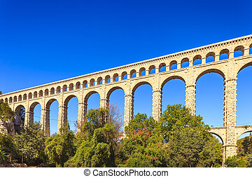 Roquefavour historic old aqueduct landmark in Provence,...