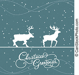 christmas blue greeting card with d