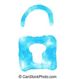 Lock icon ice, isolated on white background.