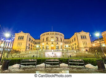 Oslo Parliament - Oslo Stortinget Parliament at dusk Norway