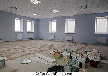 construction modern office - Paint on construction new and...