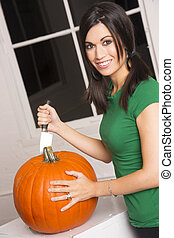 Happy Attractive Woman Cuts Top Pumpkin Halloween Jackolante...