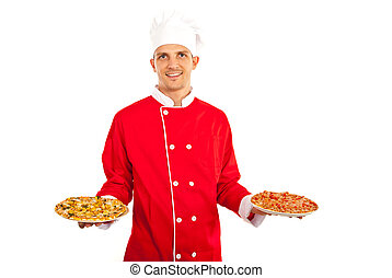 Chef man holding pizza - Chef man holding plates with...