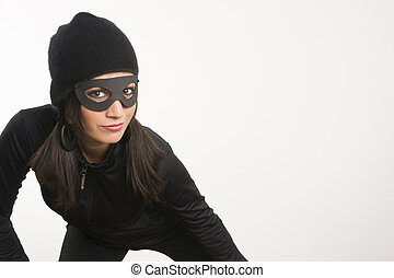 Masked Woman Sneaking Lurking Around Looking For Something -...
