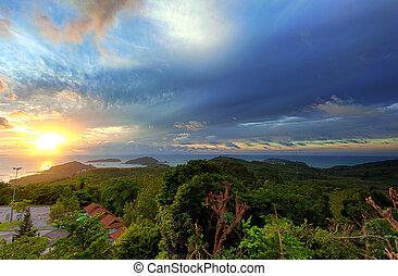 Panoramic sunrise landscape photography