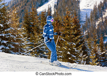 Skier at mountains ski resort Bad Gastein - Austria
