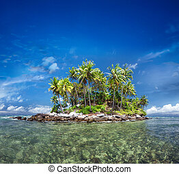 Tropical island with exotic green plants and coconut trees...