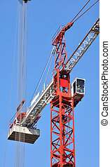 cranes details - cranes red and white with cab and...