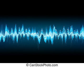 Bright sound wave on a dark blue. EPS 10 - Bright sound wave...