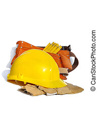 worker equipment - yellow construction helmet, gloves and...