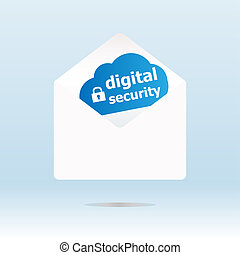 digital security on blue cloud, paper mail envelope