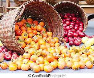 Autumn fruits - Closeup of fresh autumn fruits