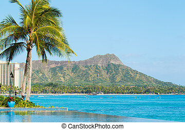 View of Diamond Head, Waikiki, - View of Tropical Resort,...