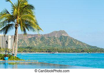 vista, diamante, cabeza, Waikiki