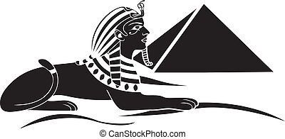 egyptian sphinx with pyramid black stencil