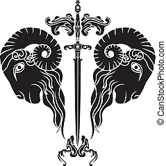 sword with reflected ram head, persistence obstinacy symbol